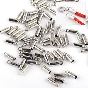 100x-Silber-Endkappen-Kupfer-fuer-Schmuck-Lederband-Perlen-Basteln-Verschluss-Neu
