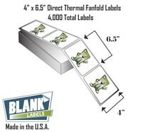 4000 Fanfold 4 X 6.5 Direct Thermal Labels. Shipping Barcode Labels Zebra Ups