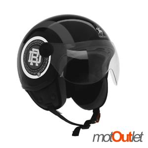 Casco Demi Jet Rodeo Drive RD105N Nero Opaco Grig Omologato Scooter Moto Helmet