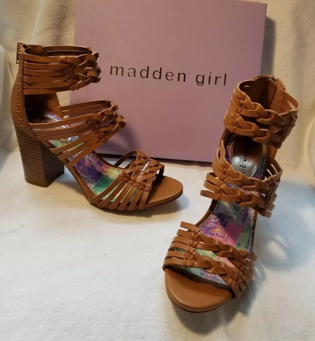 Madden Girl Revvy Tan F Leather Gladiator Ankle High Heel Bootie Boot Sandal 10
