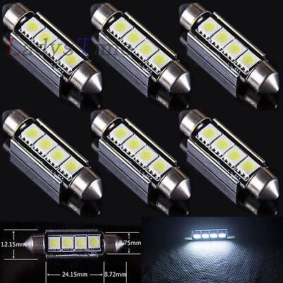 6 x 42 MM 4SMD Canbus Error Free LED Festoon Dome License Plate Light Bulb White