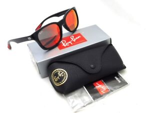 9edc0ce44e146 NWT Ray-Ban 4197 Square Black Ruby Mirrored 56-20-154 Made In Italy ...