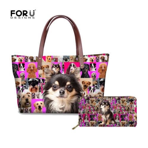Women Fashion Shoulder Tote Bag Animal Pug Print  PU Long Purse Card Holder 2PCS