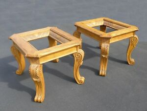 Details About Pair Vintage Ornate Carved Scrolled Gold Wood End Tables Includes Gl Tops