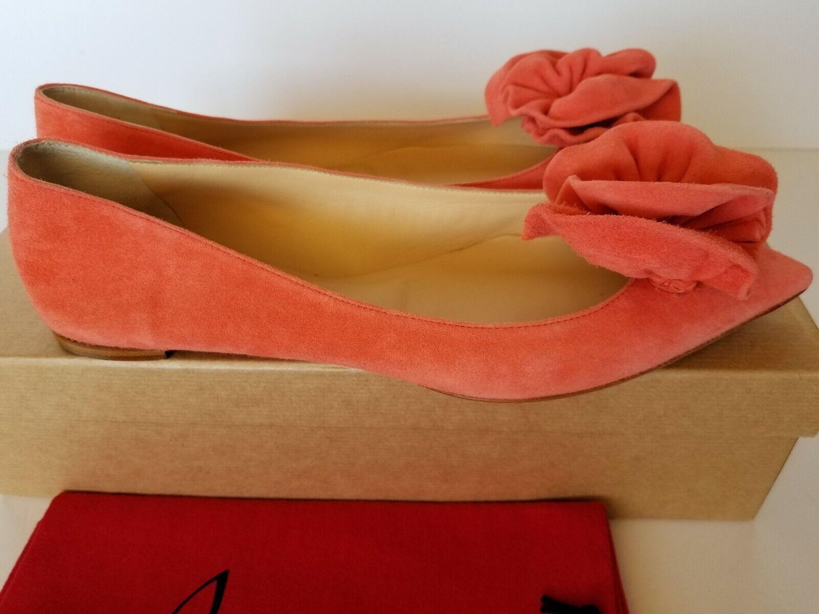 New Christian Louboutin Louboutin Louboutin Anemosia Suede Red Sole Ballet Flats Pump 39 9 b454a7