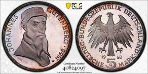 GERMANY 5 Mark 1968 G Silver Johannes Gutenberg Proof PCGS PR65DCAM Beautiful !!
