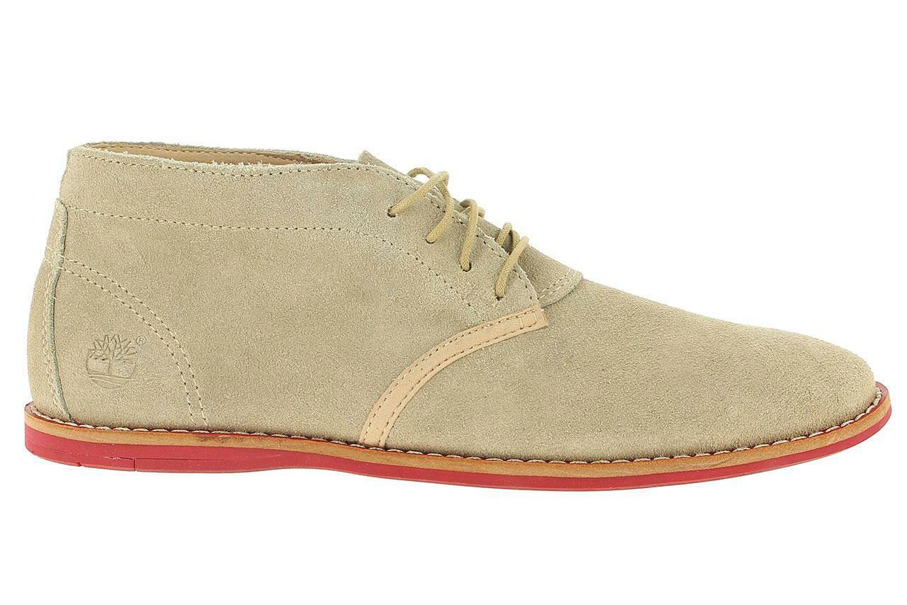 Mens Classic Casual Smart Timberland Soft Leather Beige Suede Mid Shoes Size UK