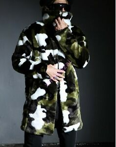 Hot Chic Jacket Winter Fur Outwears Parka Long Camouflage Mens Coats Trench Faux wqBUU4pR