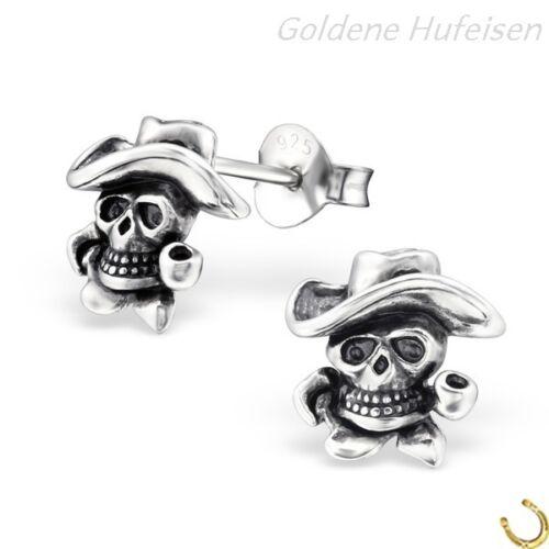 695 1 Paar Totenkopf Ohrstecker 925 Echt Silber Ohrringe Herren Geschenkidee