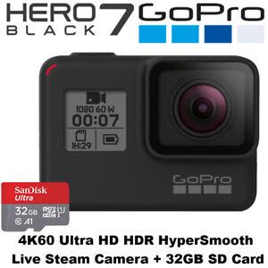 GoPro Hero 7 Black - 4K60 Ultra HD HDR HyperSmooth Live Stream Camera + 32GB SD