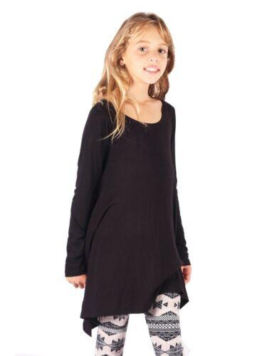 Lori/&Jane Big Girls Black Trendy  Long Sleeve Hi-Low Tunic Dress 6-14
