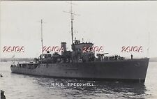 """Royal Navy Real Photo RPPC. HMS """"Speedwell"""" Minesweeper. renamed """"Topaz"""" c 1935"""