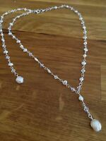 Designer Backdrop Bridal Necklace Jewelry Swarovski Crystal And Freshwater Pearl