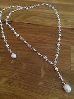 Designer Backdrop Bridal Necklace Jewelry Swarovski Crystal And Freshwater Pearl