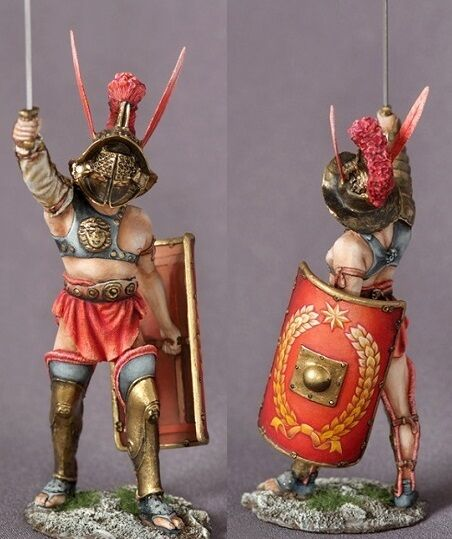 Tin toy soldiers ELITE painted 54 mm Roman Gladiator Mirmillone