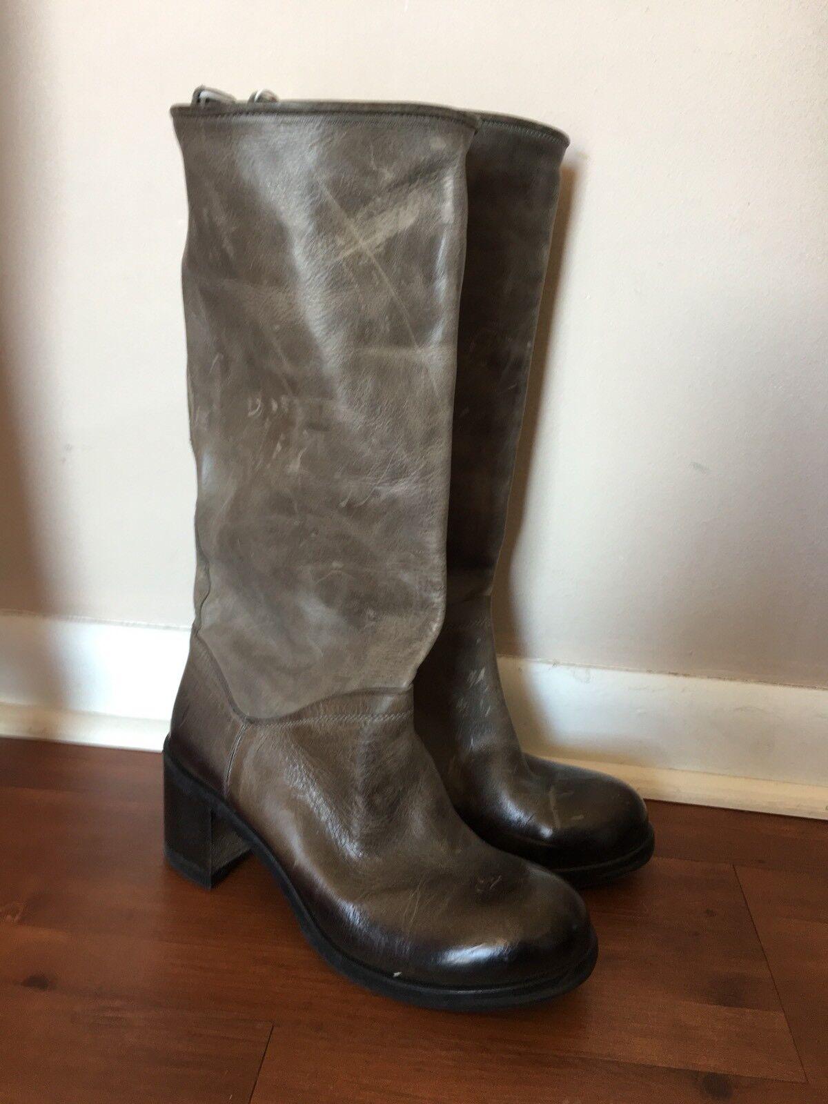 KBR Gray Distressed Knee High Leder Stiefel Made in  Größe 6.5 NEU