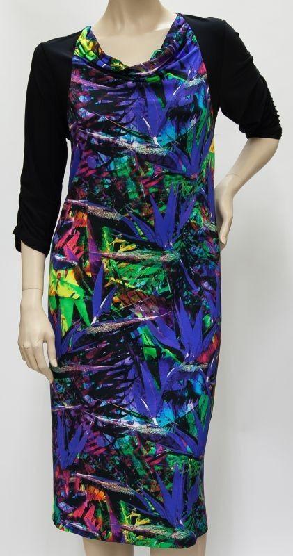 Q'neel - Viskose Kleid - schwarz   bunt, viele Farben, wadenlang 42 - 58