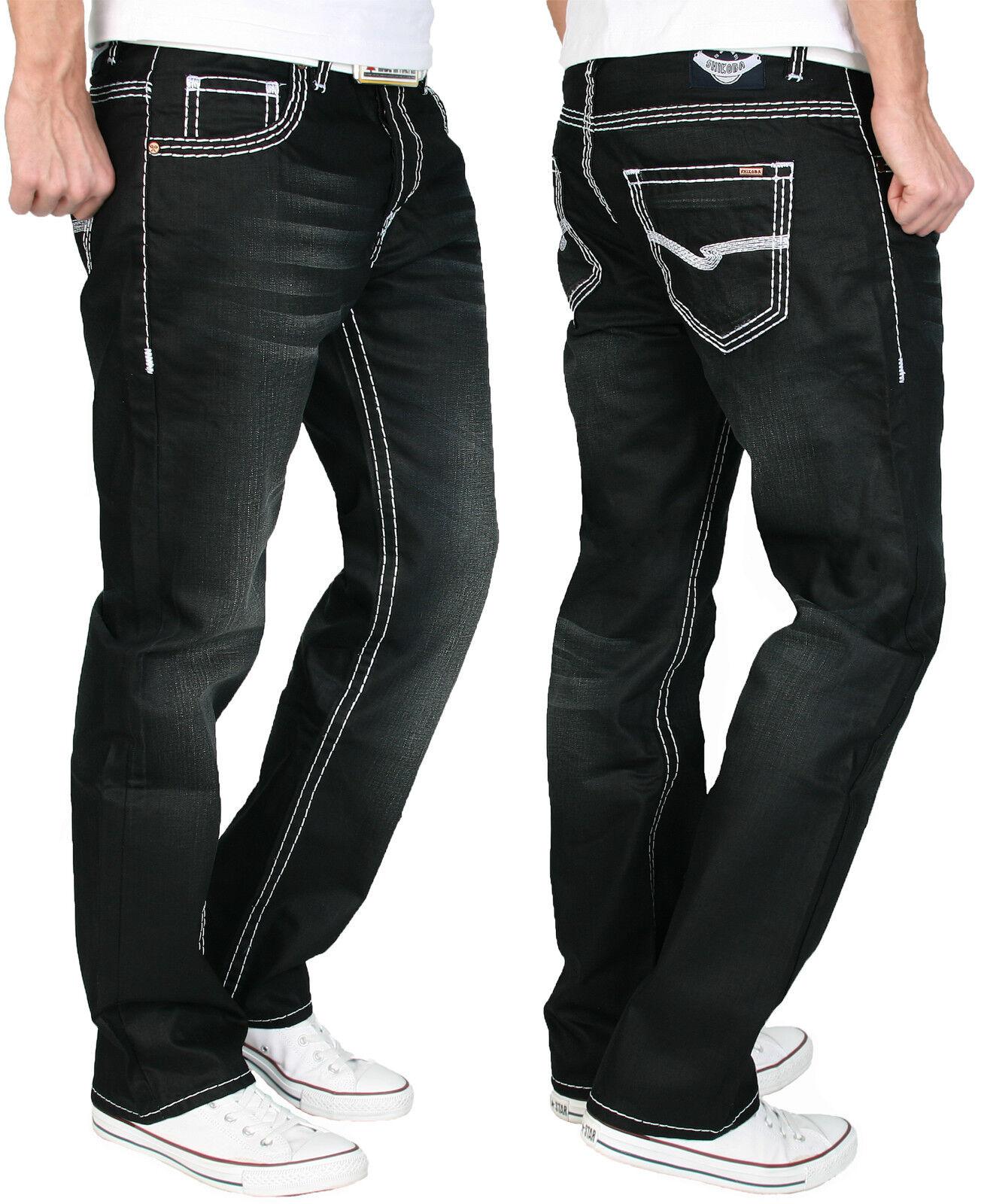 Shikoba Hombre Pantalones Vaqueros de Diseño Grueso whiteo Cosido Denim black