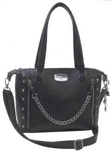 06f2ea8b01a Details about Harley-Davidson Women's Chain Gang Leather Satchel Purse,  Black CG2325L-BLACK