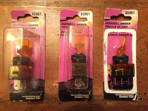 Lot Of 3-Dorman  Duckbill amber toggle switches-glow 20 amp-85961
