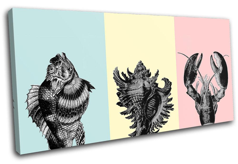 Botanical Ocean Sea Fish Animals SINGLE TELA parete arte foto stampa