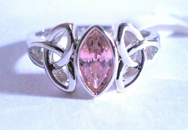 womans pink topaz solitaire ring sizes 7-8-9 silver plated
