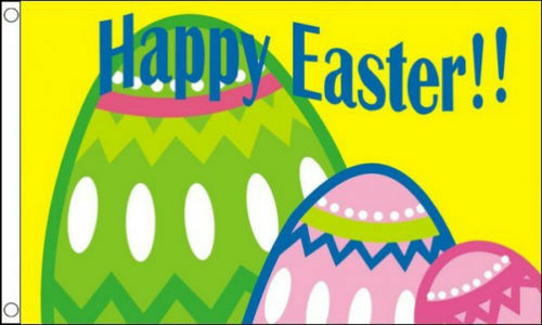100/% Polyester With Eyelets Eggs Coloured Bright Happy Easter Flag 5 x 3 FT