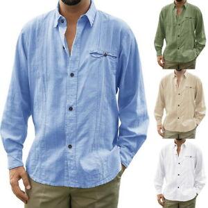 Mens Linen Casual Button Down Long Sleeve Regular Fit Tops Shirt