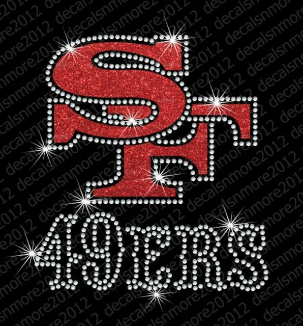 NFL:  San Francisco 49ers Bling - Iron-on Glitter Vinyl & Rhinestone Transfer
