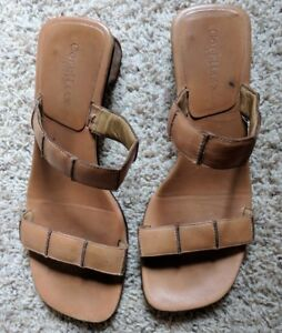 Cole Haan Studio Slip On Heeled Sandals Tan Brown Leather Slides Casual Shoe 10B