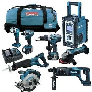 12tlg-MAKITA-18V-Profi-Akku-Werkzeug-Set-DHR241-RMJ-Kombi-Bohrhammer-RFE-RME-Z