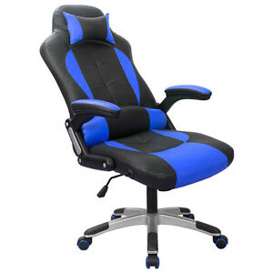 Executive Racing Gaming Chair High Back Reclining PU Leather Chair Blue/Black^
