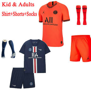 watch d0c26 7fcd2 Details about Football Kits MBAPPE 7 Soccer Suits Kids Adults Jersey Strip  Sports Outfit Socks