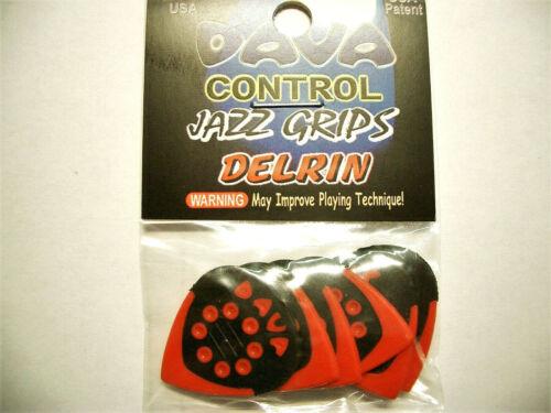 "6 Dava Control /""Jazz Grips/"" Delrin Picks Plektren rot Hang Bag"