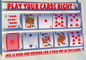 PLAY YOUR CARDS RIGHT HIGHER LOWER GAME BOARD WITH  LARGE PLAYING CARDS