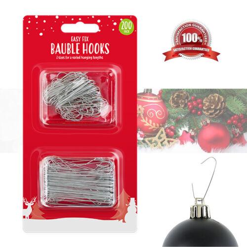 200 Arbre De Noël Crochets De Noël Babiole Décoration Ornement Cintres 2 Tailles