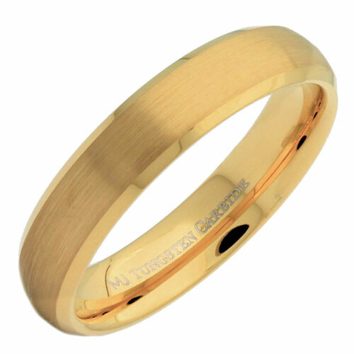 5mm Gold Plated Tungsten Carbide Brushed Curve with Polished Edge Ring