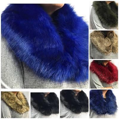 Ladies Women New Fluffy Faux Fur Pashmina Stole Scarf Shawl Collar Warm Winter