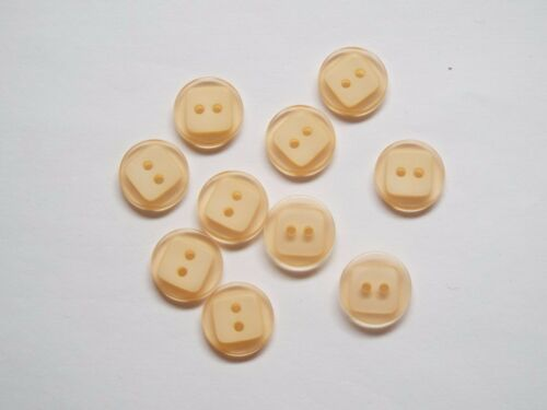 10pc 15mm Baby Peach Hint of Orange Mock Square 2 Hole Button 1339