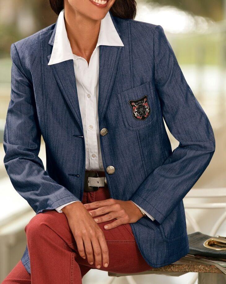 Jeans Blazer Blazer Armoiries Boutons Blason Marine Taille 44