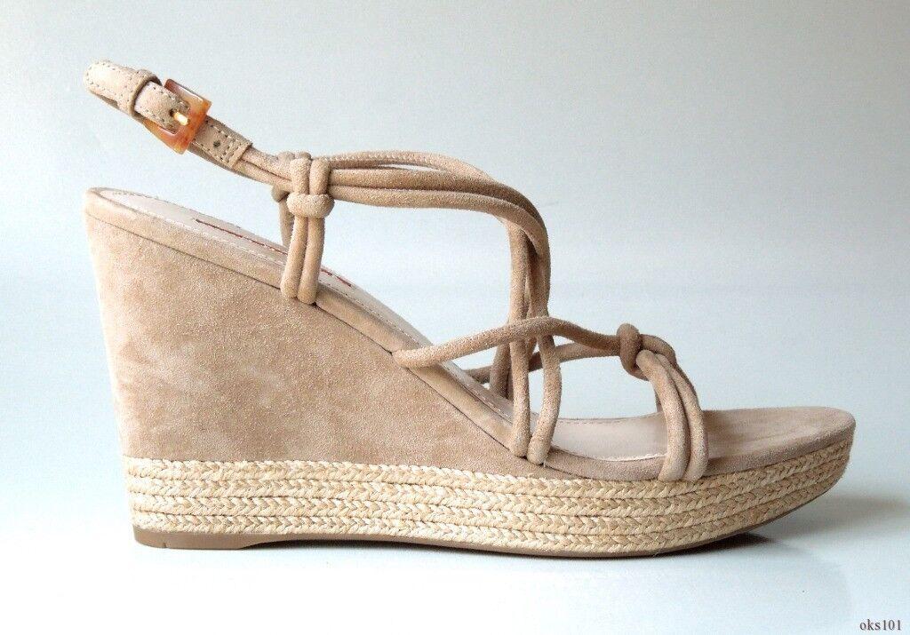new $565 PRADA taupe gray suede X-strap platform 10 WEDGES shoes 40 US 10 platform 68dcd8