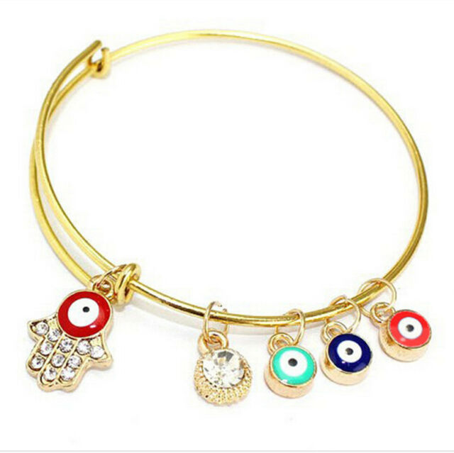 Enamel Evil Eye Hamsa Hand Fatima charm Adjustable Bangle Gold Plated Bracelet