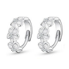 Platinum Plated Earrings Silver Tone Flowers Girl Women White Zircons Hoops E883
