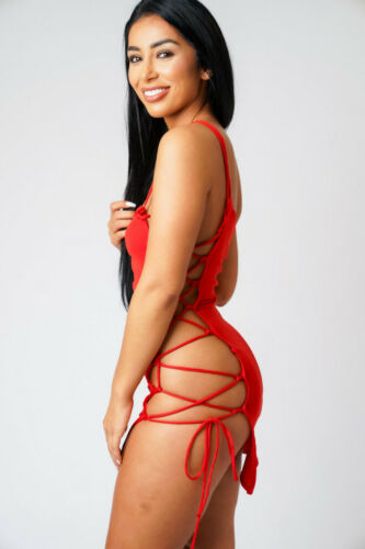 Red Strapless Mini Dress Women/'s Tube Side Ladder Micro Mini Dresses UK 6-24