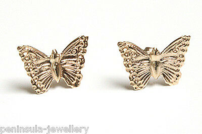 9ct Gold Large Butterfly Stud Earrings Gift boxed Made in UK