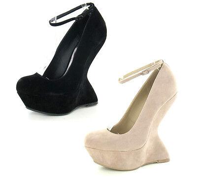 señoras de la venta en Contorno Plataforma Zapatos Tira en Tobillo f9611