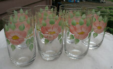 Hand Painted Prairie Rose Imperial Glass Tumblers,vintage 1940s/50s,clear,flower
