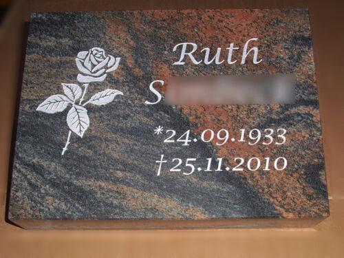 Liegestein Granit 50x40x10cm Grabstein Grabplatte Gedenkstein Grabmal Urnenstein
