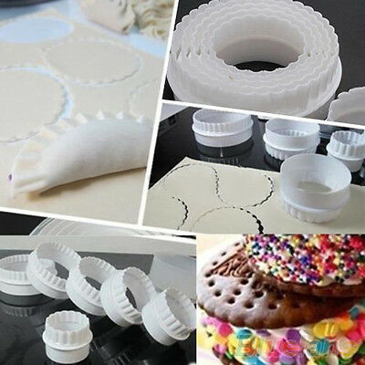 Professional 6Pcs Round Plastic Pastry Cookie Cutter Cake Mold Foundant Tool DIY