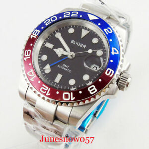 Automatic-Men-039-s-Watch-40mm-Auto-Date-Magnifier-Pepsi-Bezel-Sapphire-Glass-GMT